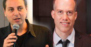 """מימין: ארז סימון, מנכ""""ל גאודרונס (צילום עצמי), ועו""""ד יהונתן קלינגר, יו""""ר התנועה לזכויות דיגיטליות (צילום: גלעד אילוז)"""