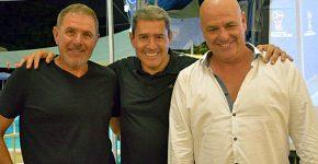 """מימין: יובל סיברוני מאורקל; מוטי גוטמן, מנכ""""ל מטריקס; ופרשן הספורט והמאמן לשעבר של נבחרת ישראל, אלי גוטמן. צילום: יח""""צ"""