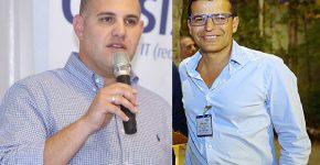 """איציק מלכה מנכ""""ל ג'וניפר ישראל ונדב טוביאס מנכ""""ל נוטניקס ישראל. צילומים: ניב קנטור"""