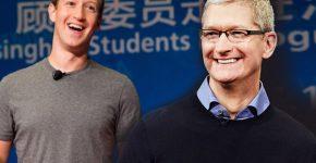 """טים קוק, מנכ""""ל אפל ומארק צוקרברג, מייסד פייסבוק."""