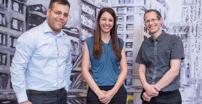 מייסדי היילו. משמאל לימין: המנכ''ל, אור דנון; מנהלת הפיתוח העסקי, הדר צייטלין; וה-CTO, אבי באום. צילום: ערן טיירי