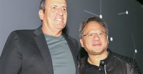 """ג'נסן הואנג, מנכ""""ל אנבידיה (מימין), ואיל וולדמן, מנכ""""ל מלאנוקס. צילום: יח""""צ"""