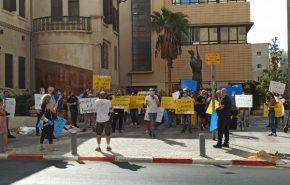 עובדי בזק בינלאומי בהפגנה היום (ד'). צילום: ועד עובדי החברה