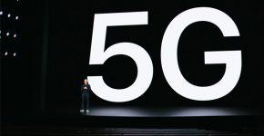 כוכב ההשקה של אפל - 5G. טים קוק על במת האודיטוריום הריק. צילום מסך, נחמה אלמוג