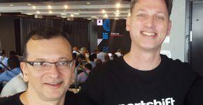 """מייסדי פורטשיפט. מימין: זהר קאופמן, סגן נשיא לטכנולוגיות, ורן אילני, מנכ""""ל. צילום: יח""""צ"""
