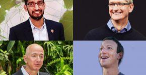 """למעלה מימי ונגד כיוון השעון: מנכ""""ל אפל, טים קוק, מנכ""""ל גוגל, סונדר פיצ'אי. מנכ""""ל פייסבוק, מארק צוקרברג ומנכ""""ל אמזון, ג'ף בזוס. נחקרו בנושא הגבלים עסקיים. צילומים: ויקיפדיה ו-BigStock"""